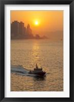 Framed Sunset view from Victoria Harbor and Kowloon, Hong Kong, China