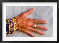 Framed Henna Design on Woman's Hands, Delhi, India