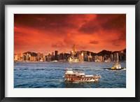 Framed Hong Kong Harbor at Sunset, Hong Kong, China
