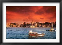 Framed Hong Kong Harbor at Sunset, Hong Kong, China