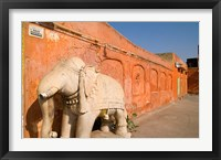 Framed Old Temple with Stone Elephant, Downtown Center of the Pink City, Jaipur, Rajasthan, India