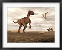 Framed Velociraptor dinosaur in desert landscape with two pteranodon birds