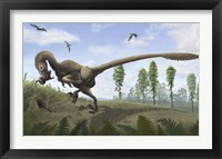 Framed Saurornitholestes seeks prey in burrows