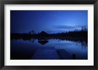 Framed small pier in a lake against starry sky, Moscow region, Russia