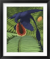 Framed Microraptor gui snacking on a cycad fruit
