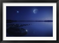 Framed Starry sky, moon and falling meteorite over a lake, Finland