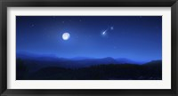 Framed Mountain range on a misty night with moon and starry sky