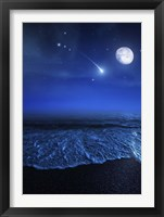 Framed Tranquil ocean at night against starry sky, moon and falling meteorite