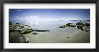 Framed Panoramic view of tranquil sea and boulders against blue sky, Burgas, Bulgaria