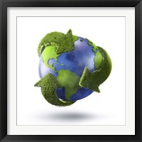 Framed 3D Rendering of planet Earth surrounded by grassy recycle symbol
