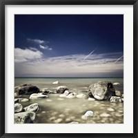 Framed Big boulders in the sea, Liselund Slotspark, Denmark