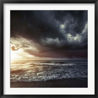 Framed Bright sunset against a wavy sea with stormy clouds, Hersonissos, Crete