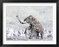 Framed Mammoth walking through a blizzard on mountain