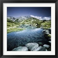 Framed Ribno Banderishko River in Pirin National Park, Bansko, Bulgaria