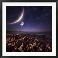 Framed Rising plantes hover over ocean and rocky shore against starry sky