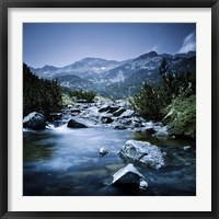 Framed Small river flowing through the mountains of Pirin National Park, Bulgaria