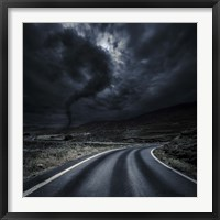 Framed Tornado near a winding road in the mountains, Crete, Greece