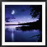 Framed Tranquil lake against starry sky, moon and falling meteorites, Russia