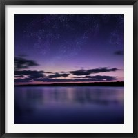 Framed Tranquil lake against starry sky, Russia