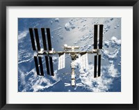 Framed International Space Station is seen from Space Shuttle Discovery