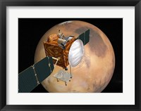 Framed NASA's Mars Telecommunications Orbiter in Flight Around Mars