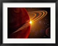 Framed Extrasolar planet orbiting the sun-like star in space