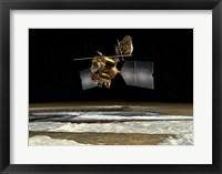 Framed Satellite over the poles of planet Mars