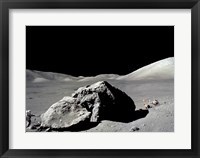 Framed Astronaut standing near a rock on the moon, Apollo 17