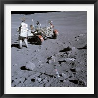 Framed Astronaut walking near the lunar rover on the moon, Apollo 16