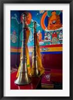 Framed Ceremonial horns at Shey Palace, Ledakh, India