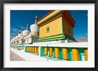 Framed Chortens and prayer flags at Dali Lama's Ladakh home, Ladakh, India