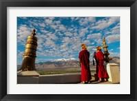 Framed Monks playing horns at sunrise, Thiksey Monastery, Leh, Ledakh, India
