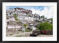 Framed Monks standing in front of the Thiksey Monastery, Leh, Ledakh, India