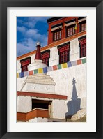 Framed Prayer flags and a chorten at Thiksey Monastery, Leh, Ladakh, India