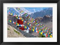 Framed Strings of prayer flags at Thiksey Monasterym Leh, Ladakh, India