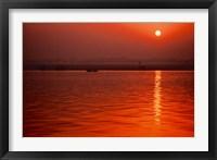 Framed Sunset over the Ganges River in Varanasi, India