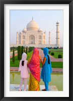 Framed Hindu Women with Veils in the Taj Mahal, Agra, India