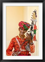 Framed Young Man in Playing Old Fashioned Instrument Called a Sarangi, Agra, India