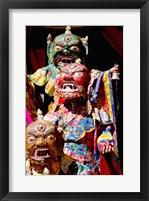 Framed Buddhist Monks in costume, Chemrey Monastery, Ladakh, India
