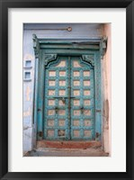 Framed Blue-painted door, Jojawar, Rajasthan, India