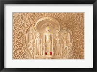 Framed Carving on the wall, Jain Temple, Ranakpur, Rajasthan, India.