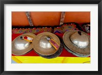 Framed Brass cymbals at Hemis Monastery, Ladakh, India