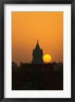 Framed Brahma Temple at sunset, Pushkar, Rajasthan, India