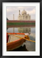 Framed Canoe in Water with Taj Mahal, Agra, India
