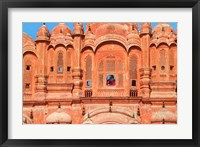 Framed Tourist by Window of Hawa Mahal, Palace of Winds, Jaipur, Rajasthan, India