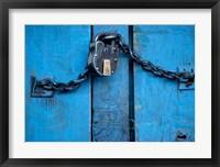 Framed India, Ladakh, Kargil, Padlock on blue door