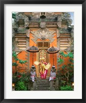 Framed Balinese Dancer Wearing Traditional Garb Near Palace Doors in Ubud, Bali, Indonesia