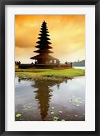Framed Religious Ulur Danu Temple in Lake Bratan, Bali, Indonesia