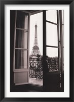 Framed Eiffel Tower through French Doors