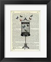 Framed Bird Cage & Butterflies